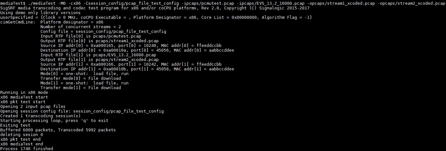 mediaTest pcap I/O command line example