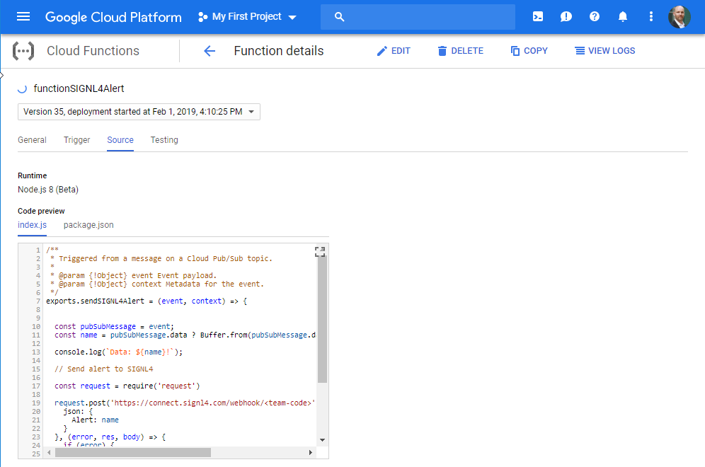 Google IoT Cloud Functions