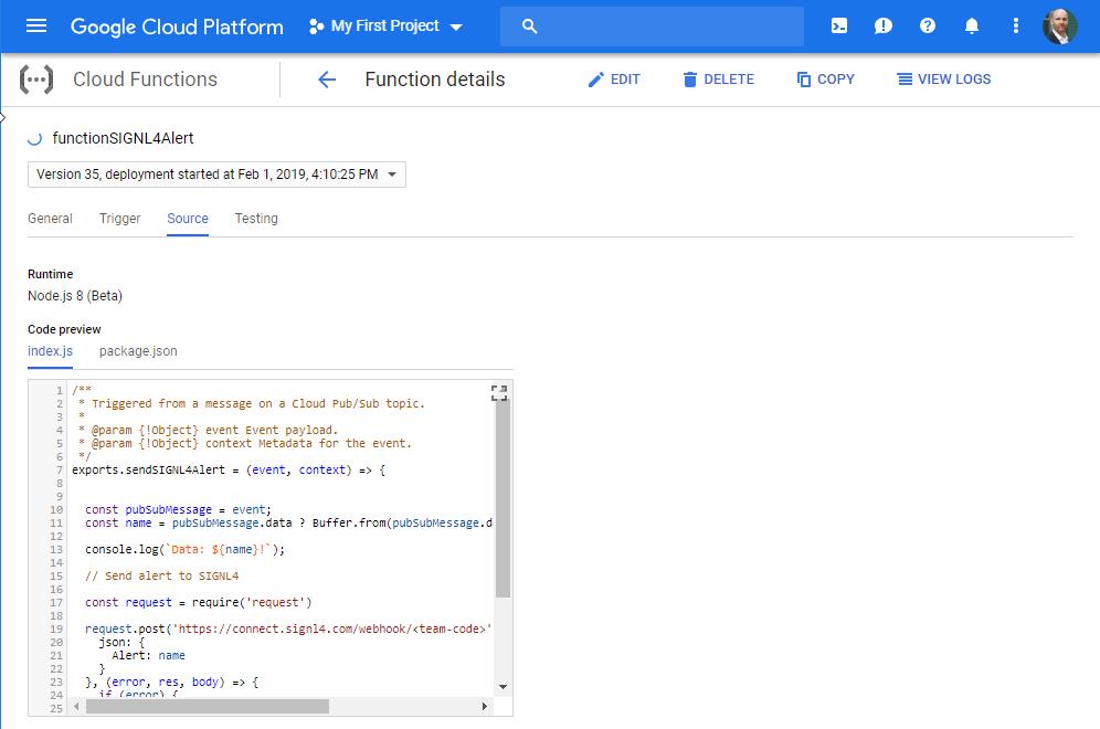 Google IoT Cloud Functions