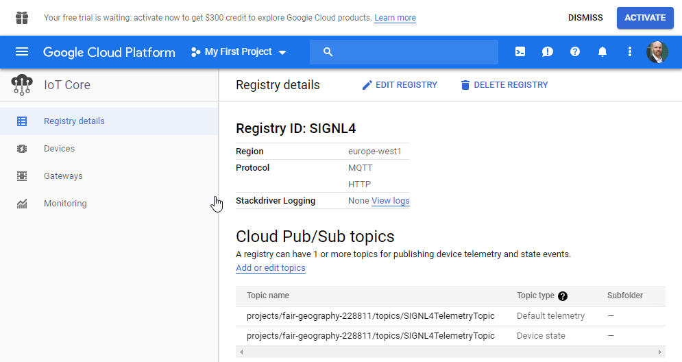 Google IoT Registry