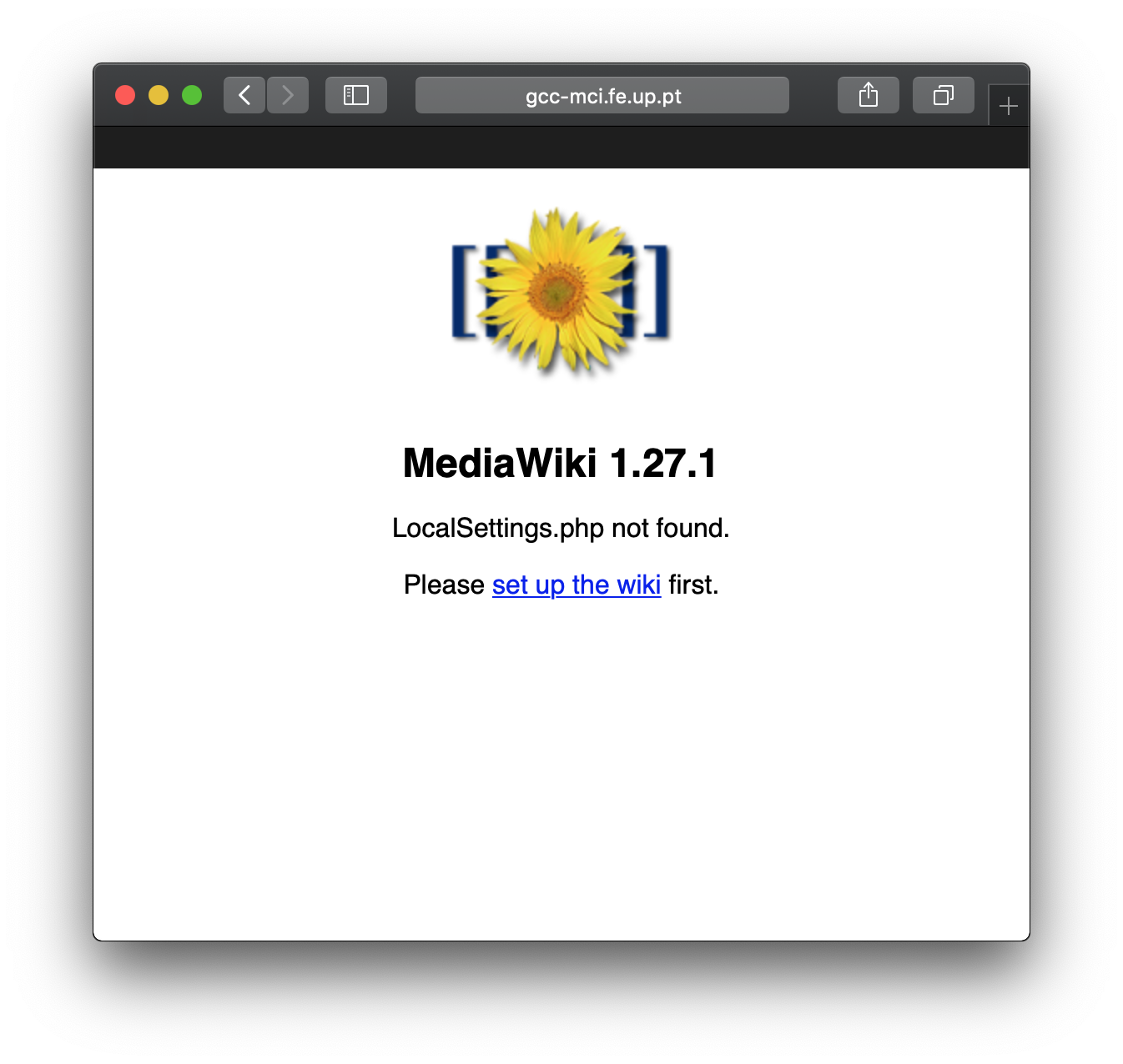 Mediawiki Setup Welcome Screen