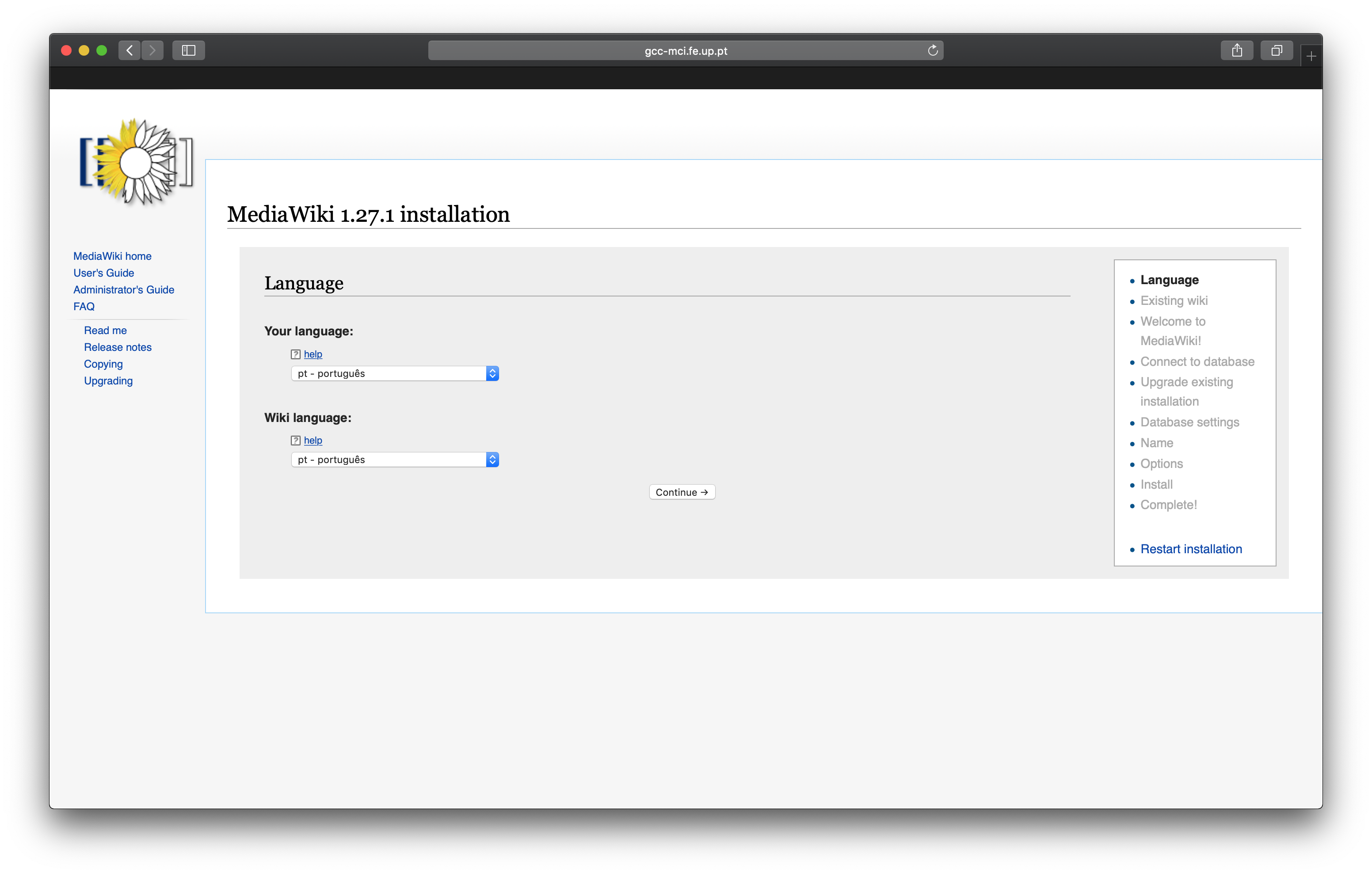 Mediawiki Setup Language