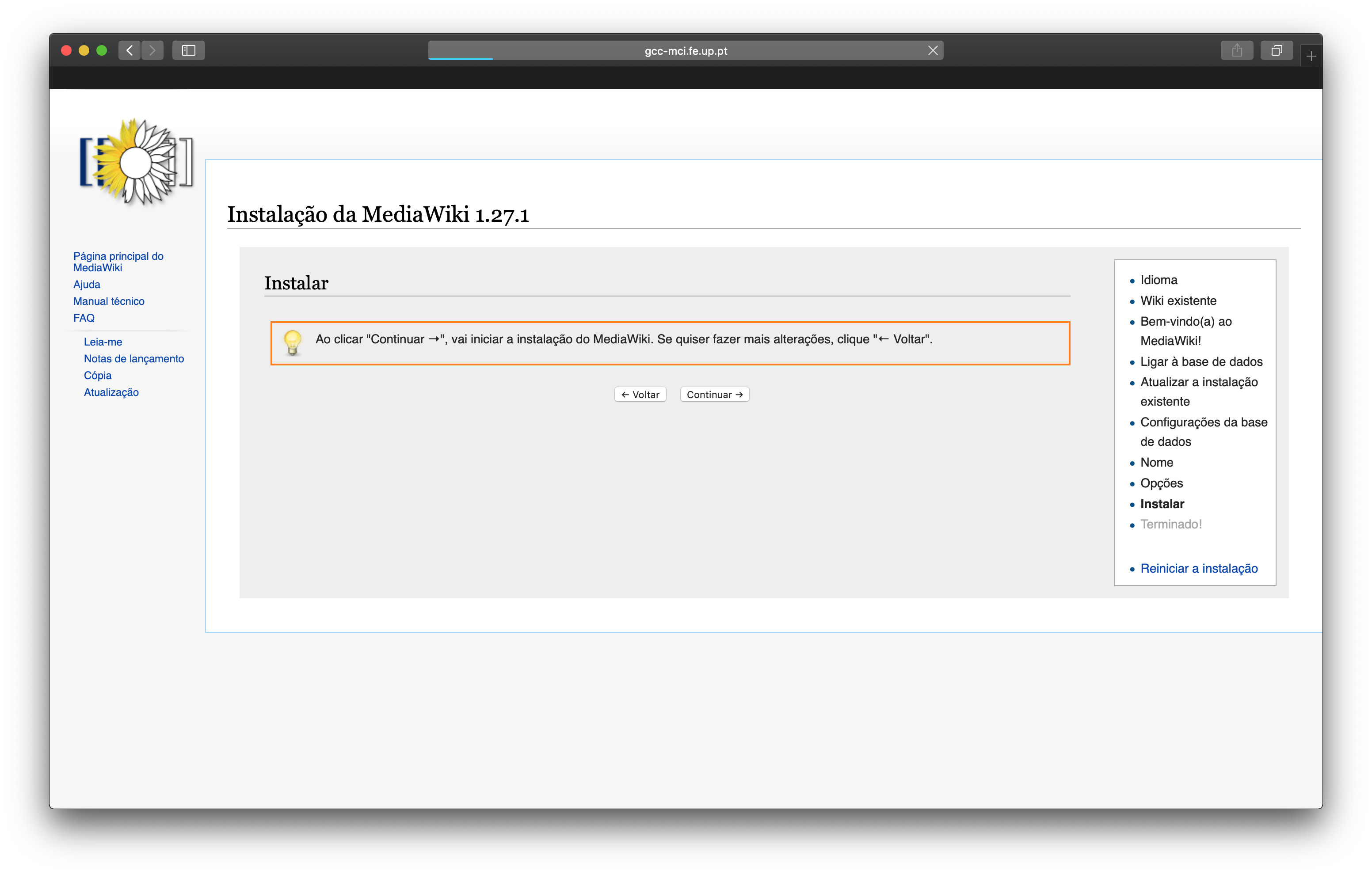 Mediawiki Setup Ready to Install