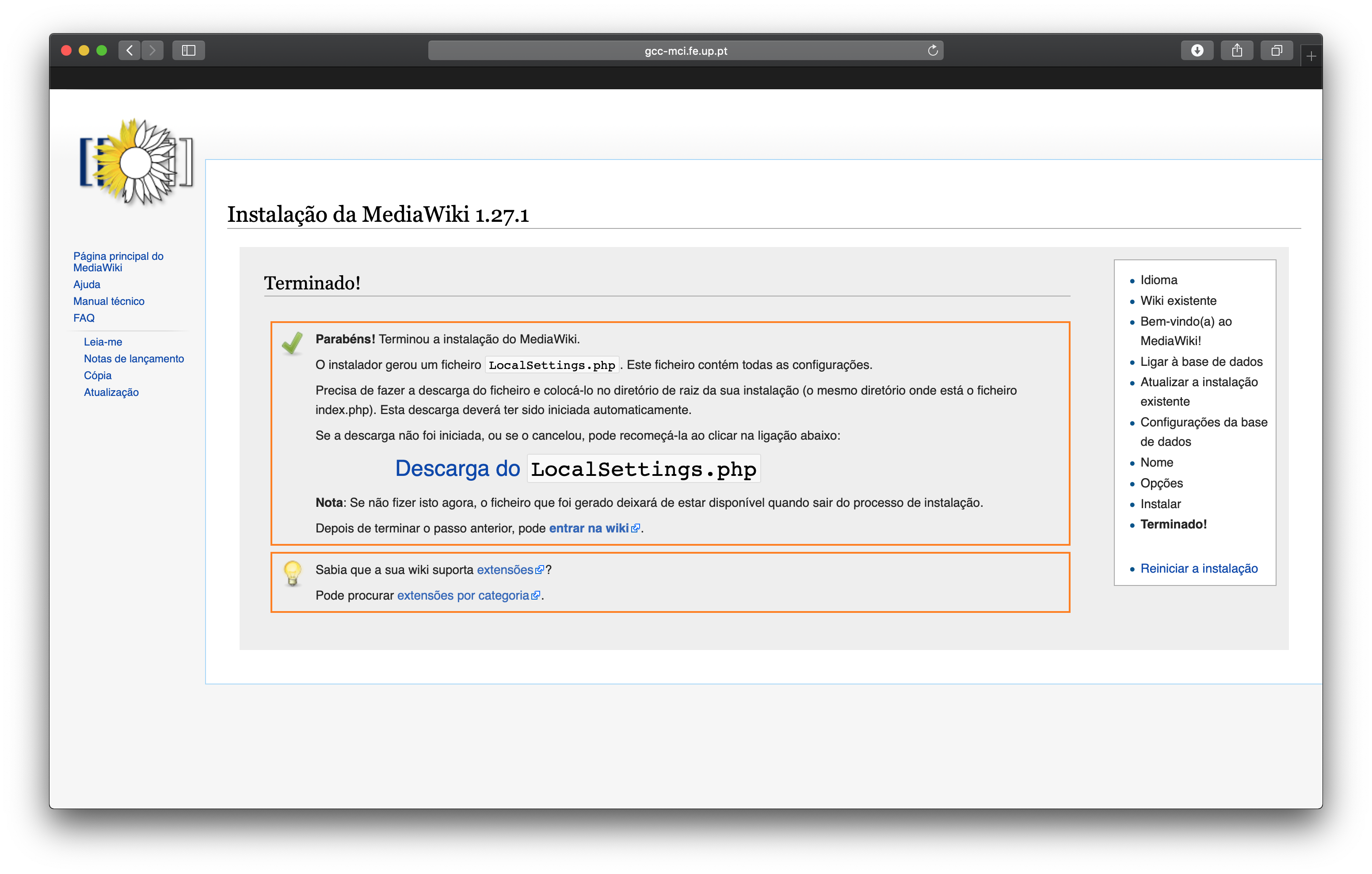 Mediawiki Setup Download LocalSettings