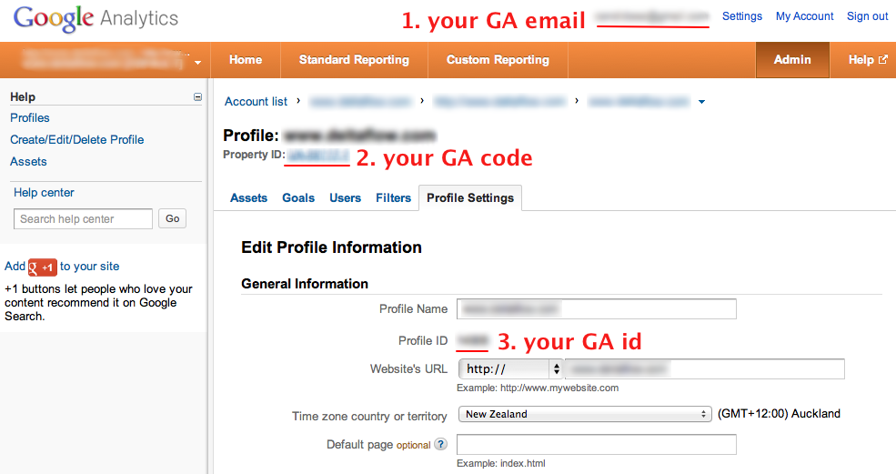 Screenshot showing where to find your credentials in GA