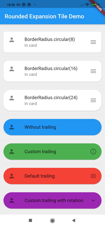 Screenshot of example app