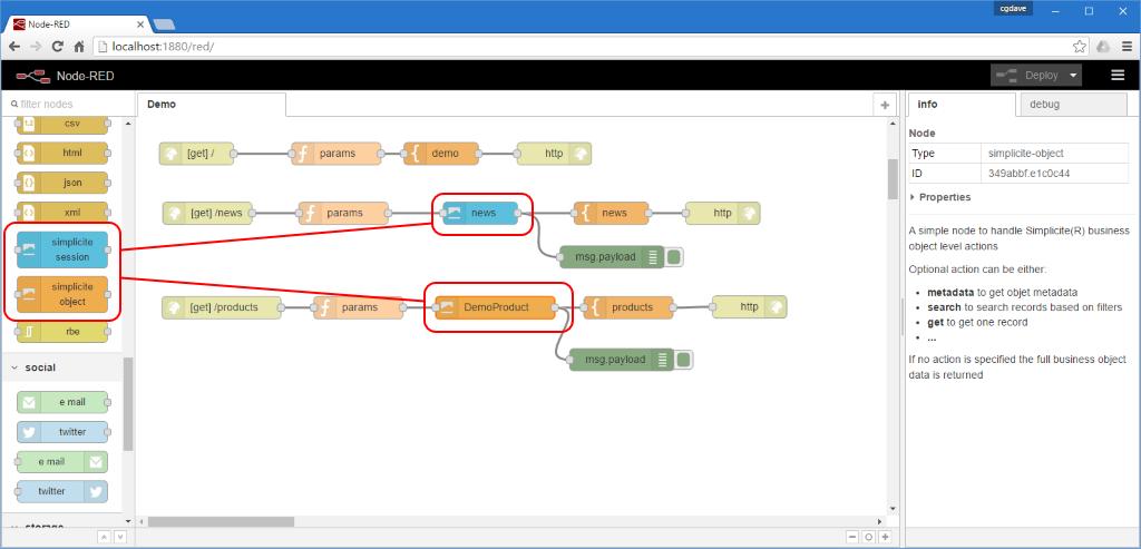 Simplicité® NodeRED nodes