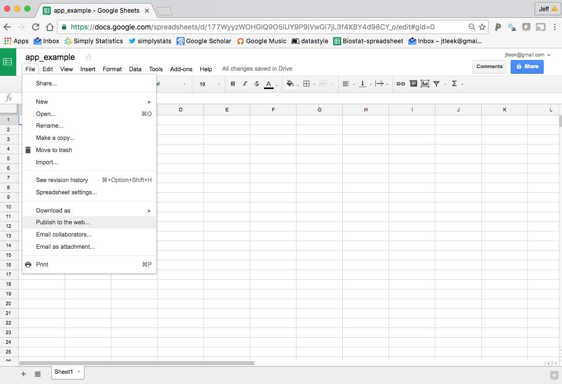 how to create google sheet and share