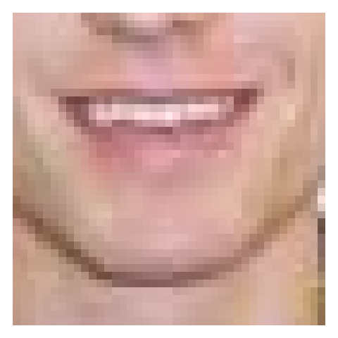 A zoomed in view of the author's smile - you can see that each little square corresponds to one pixel and has an individual color