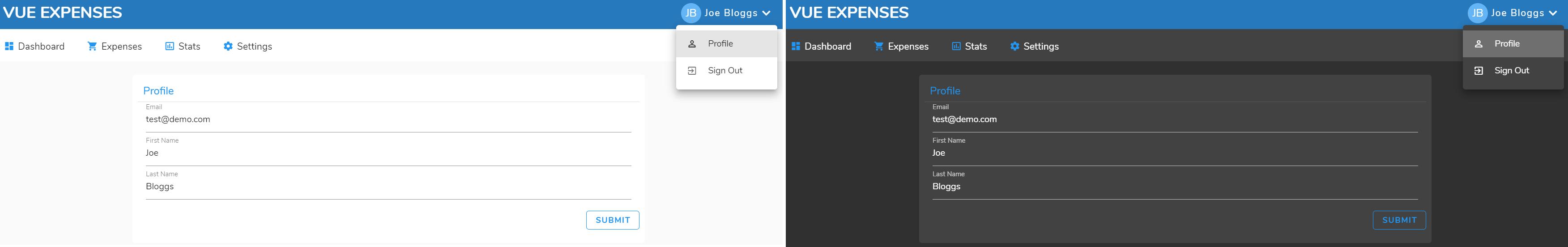 Vue Expenses Profile