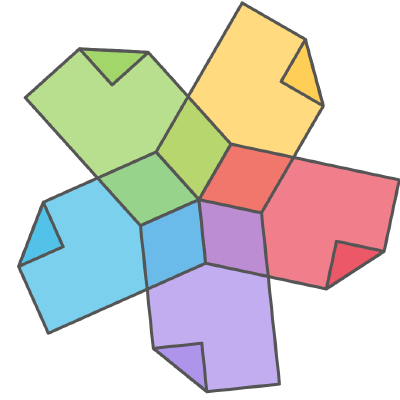Logo of the community showing five colored sheets of paper in a star-like form