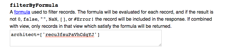 Filter by formula