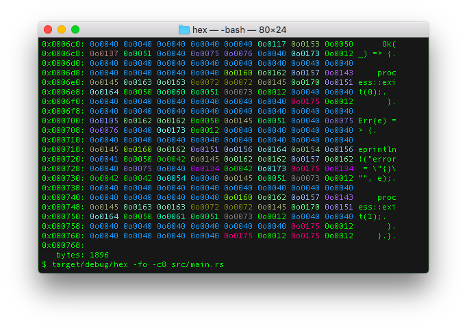 octal hex output format
