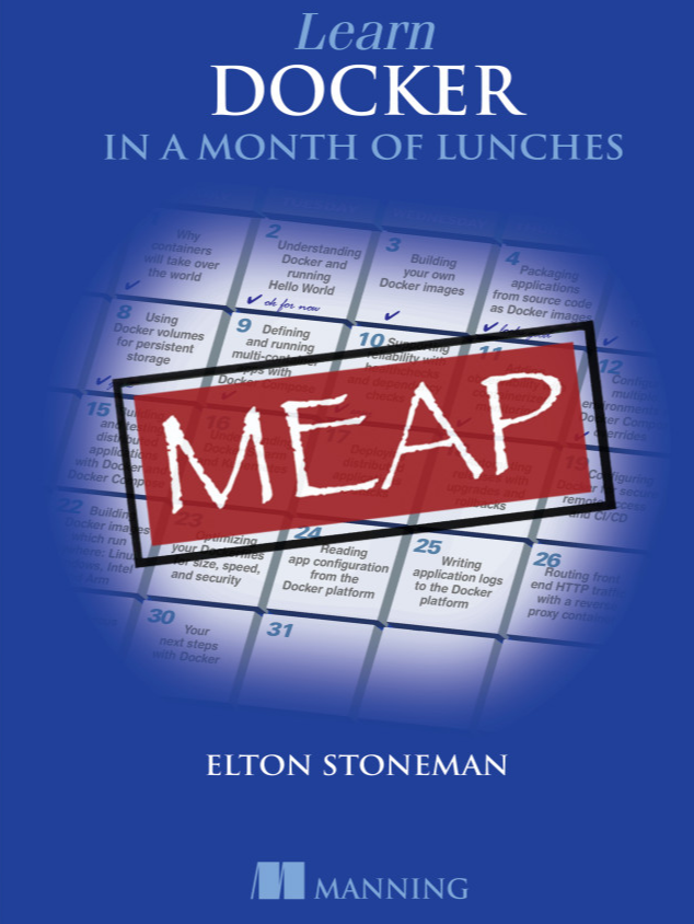 Cover of the book, Learn Docker in a Month of Lunches