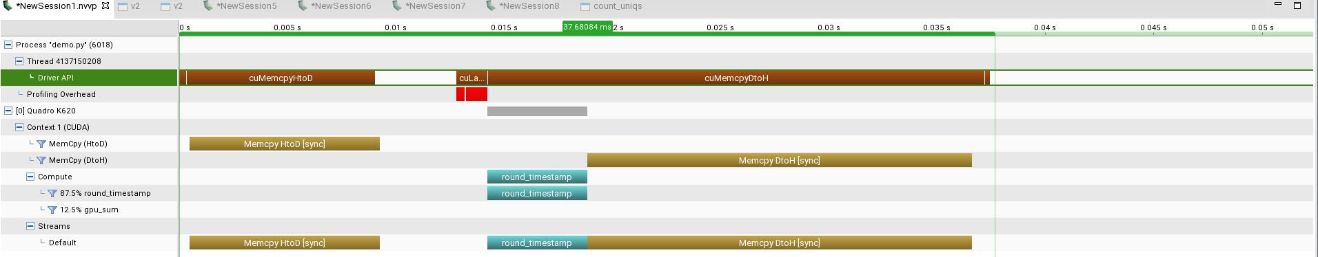 Profiler timeline for round_timestamps