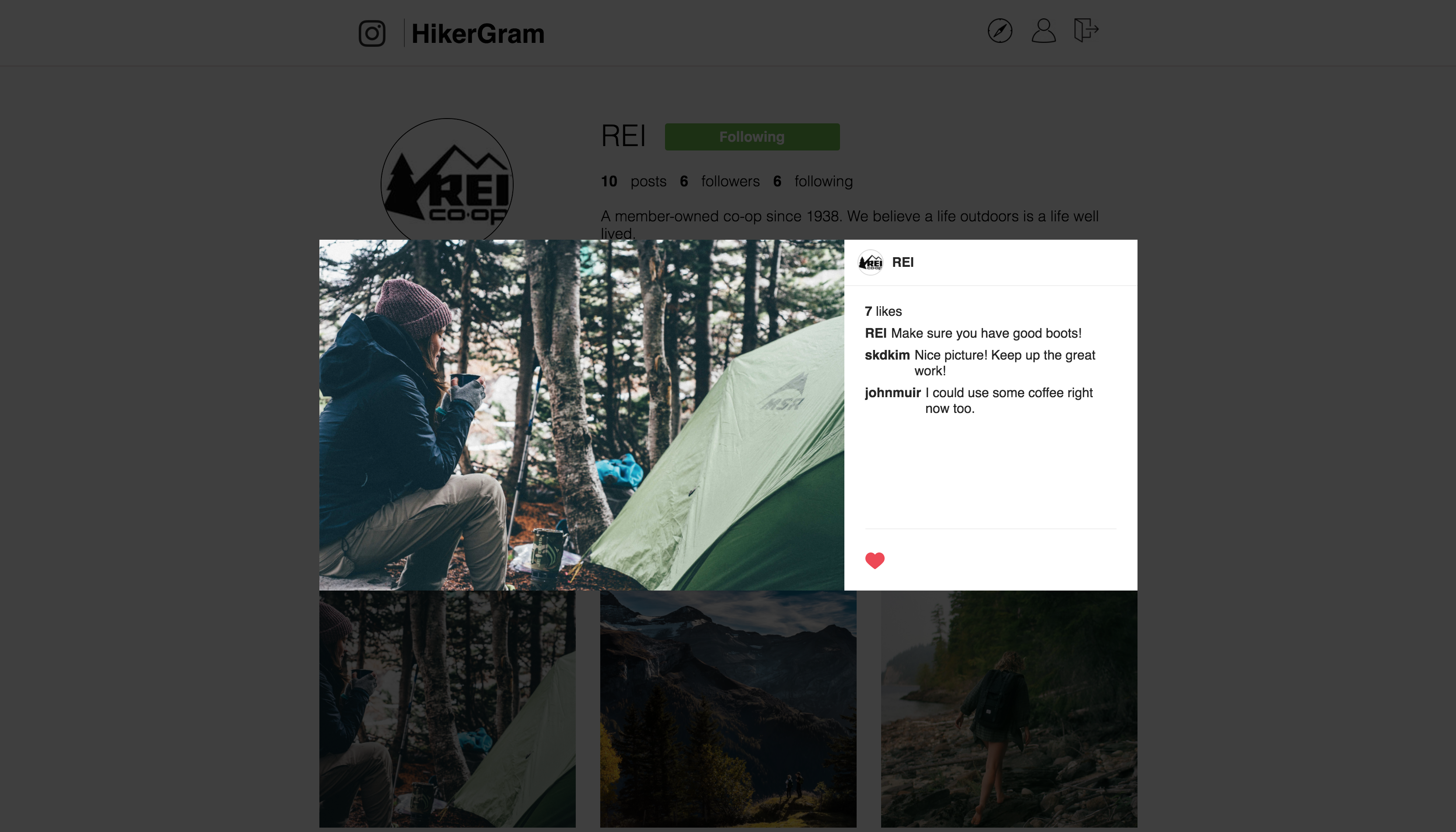 image of profile page with modal