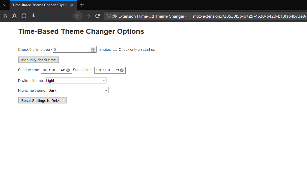 Options page in version 1.0.2