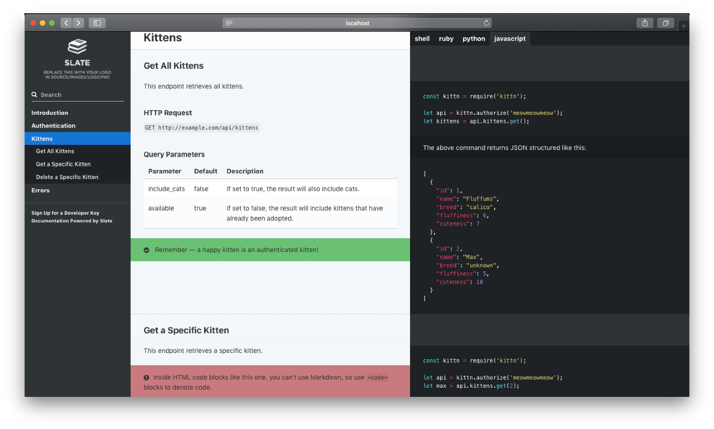 Screenshot of Example Documentation created with Slate