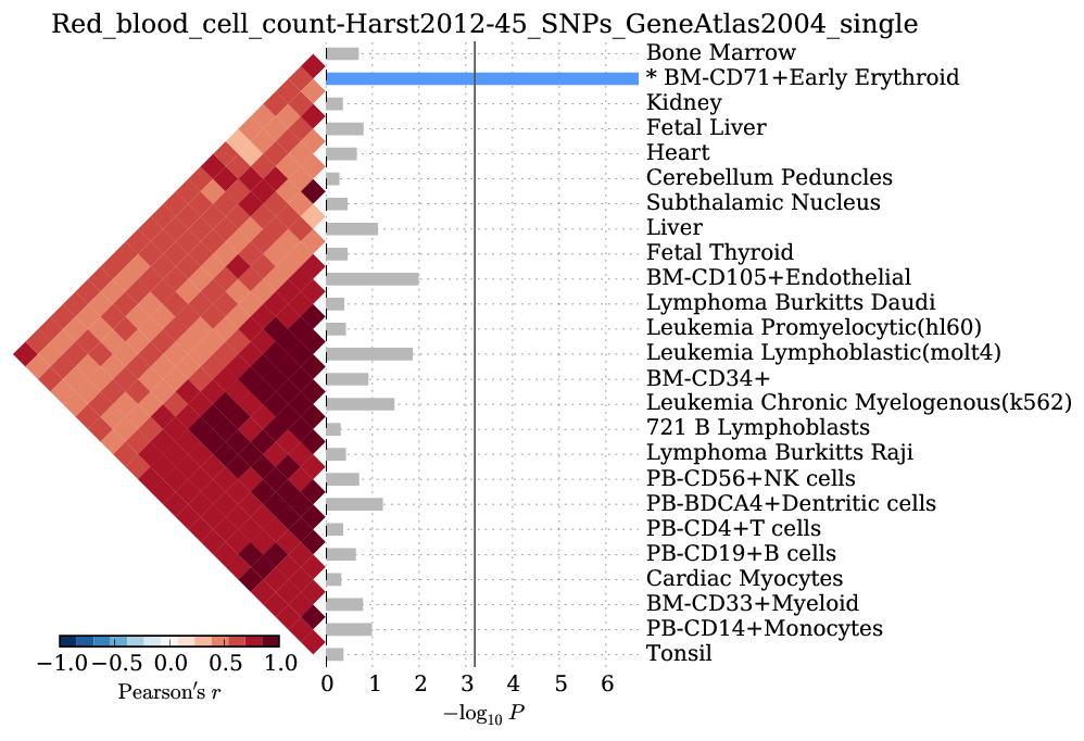 SNPsea results for RBC count-associated SNPs in the Gene Atlas.