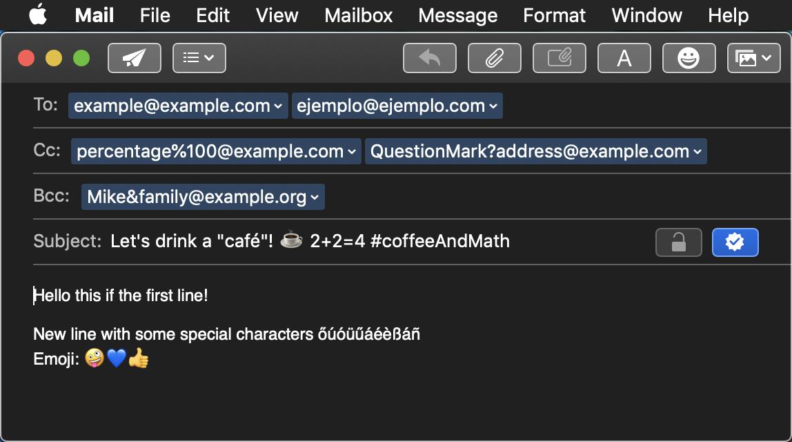mailto demo: MacOS email client