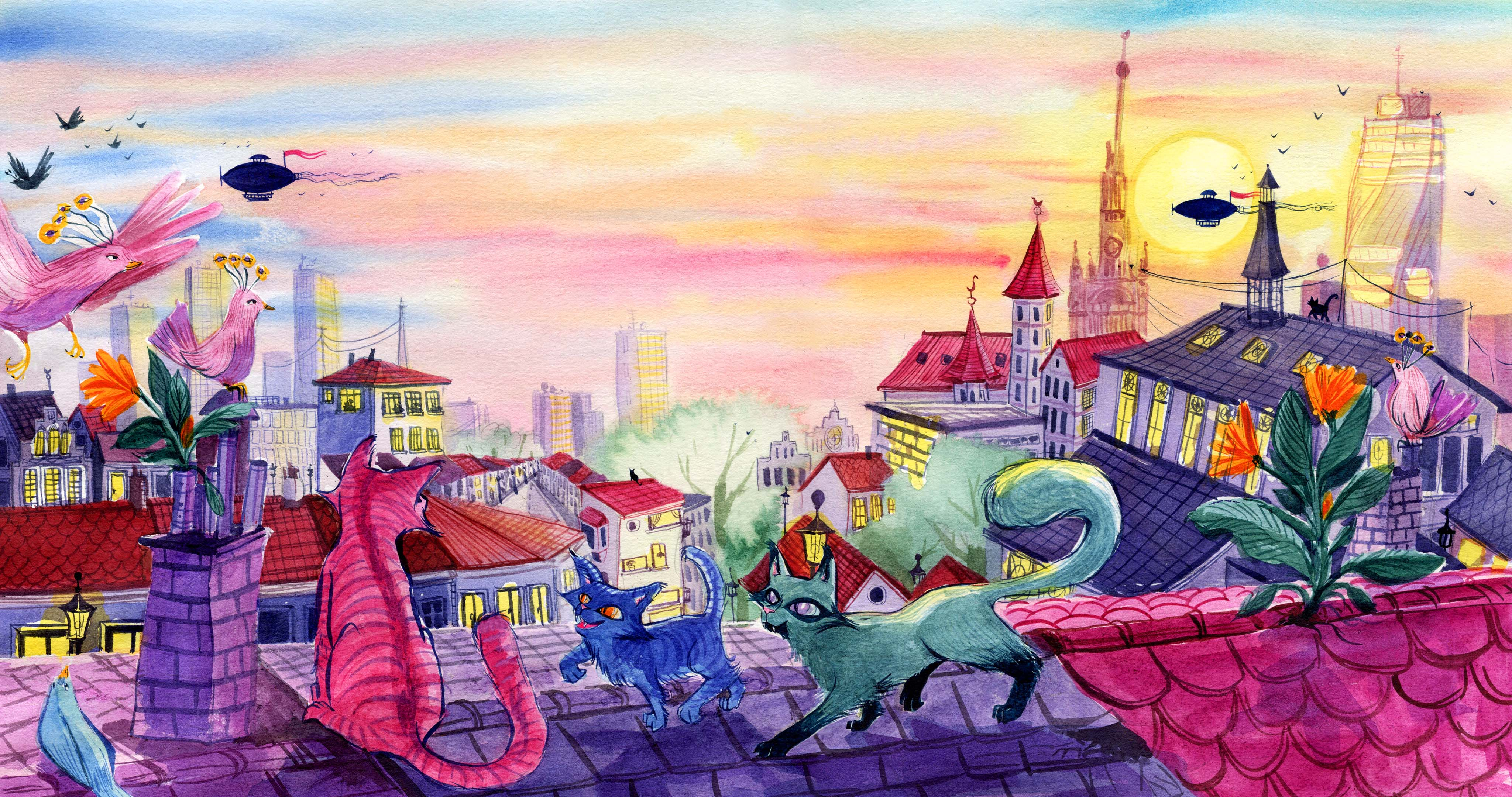 An illustration of cats on a roof with a cityscape behind them. One (pink) sits by a chimney and looks out into the distance, a tiny blue one is about to paw its tail playfully, and a green one watches the scene. There are a couple of birds by the chimney you are also looking out into the distance. The city is a mix of modern and classical buildings and there are a couple of zeppelins flying in the distance.
