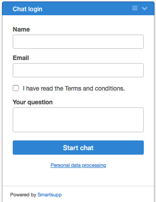 pre-chat form with checkbox