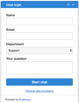 pre-chat form with select