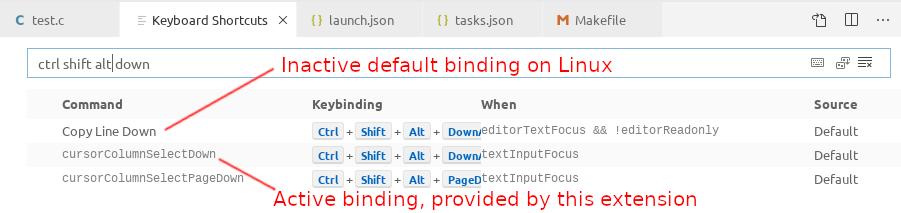 Screenshot of bindings