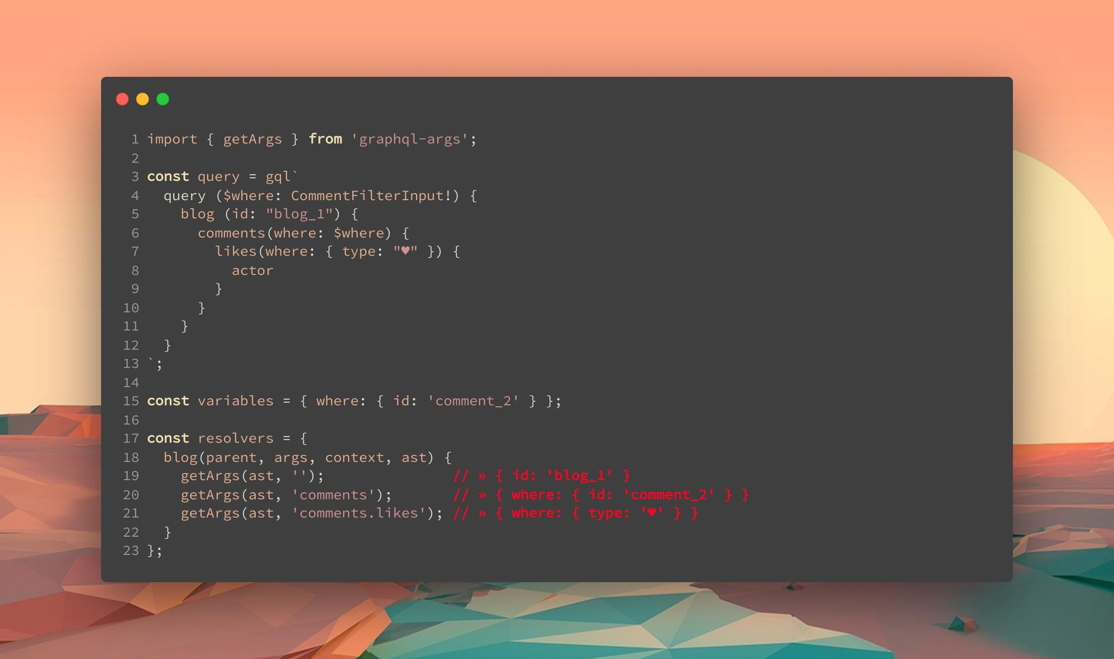 screenshot of getArgs output