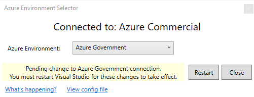 Azure Environment Select dialog after change