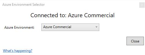 Azure Environment Selector dialog