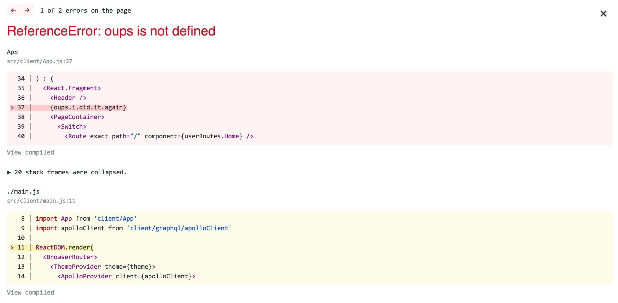 Error Overlay Webpack Plugin Example