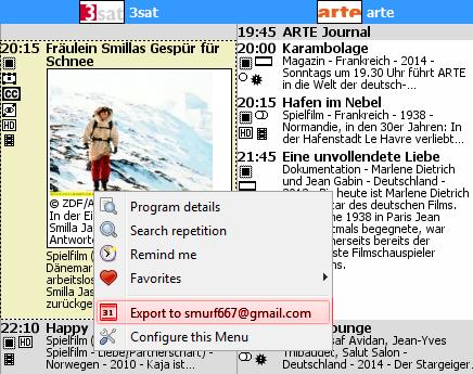 Screenshot of export action