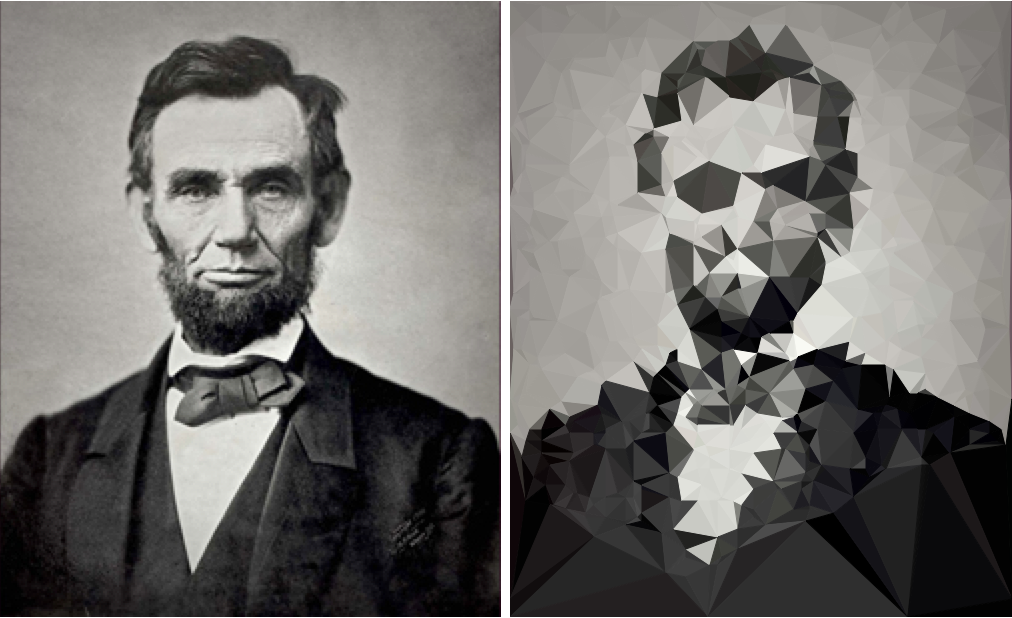 triangulated image of a. lincoln