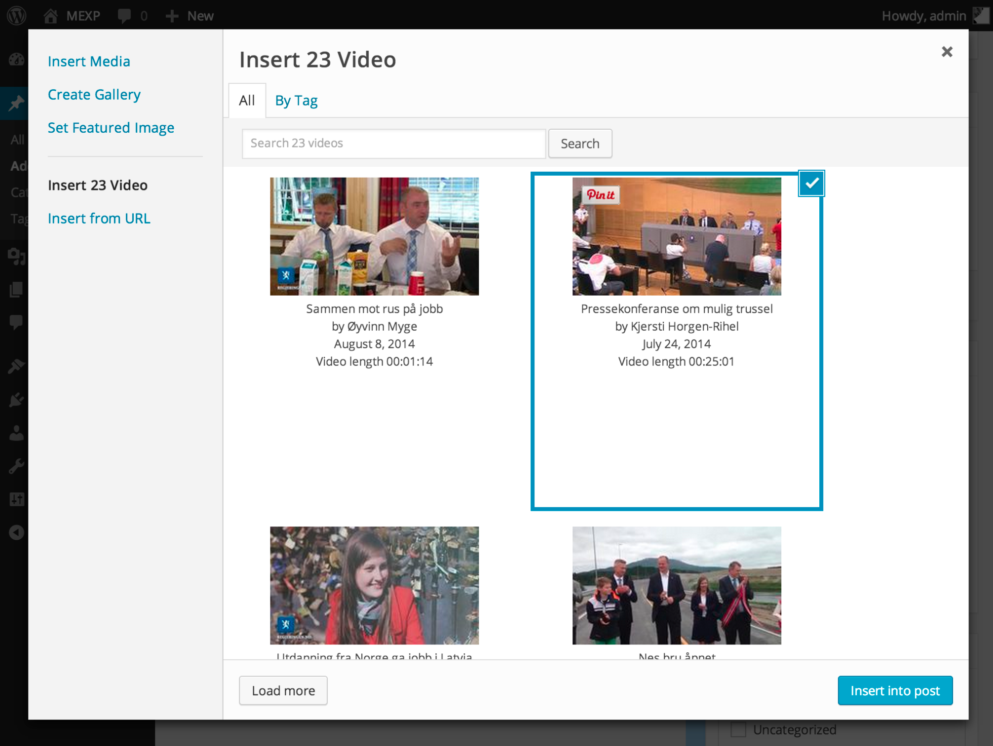 Search videos from 23 Video within media explorer