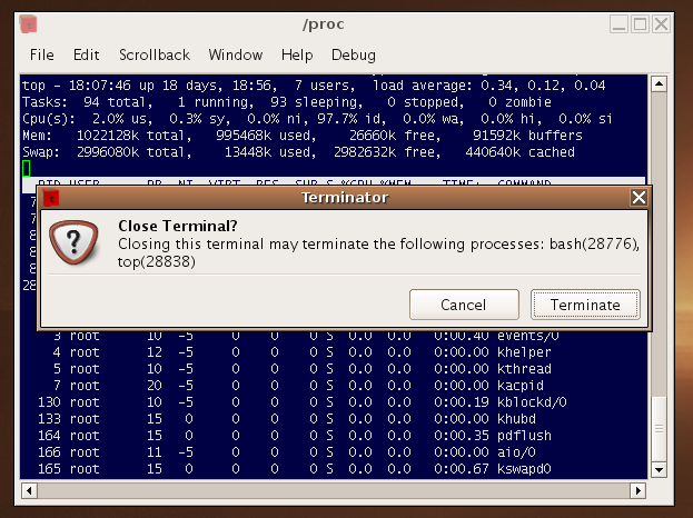 top(1) running on Linux