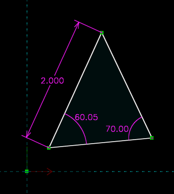 A constrained triangle in SolveSpace