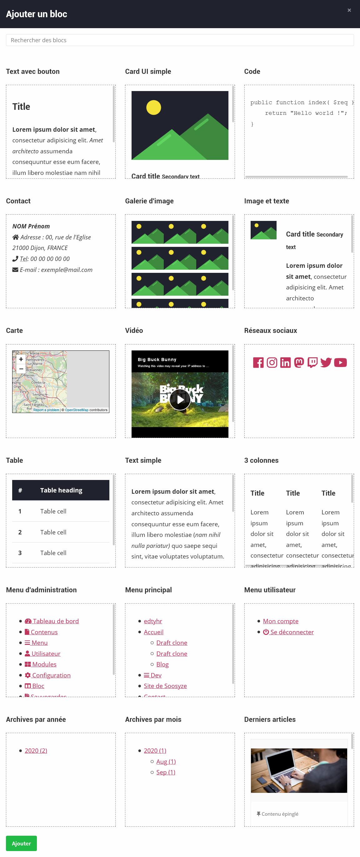Screenshot de la fenêtre modale de création des blocs de SoosyzeCMS