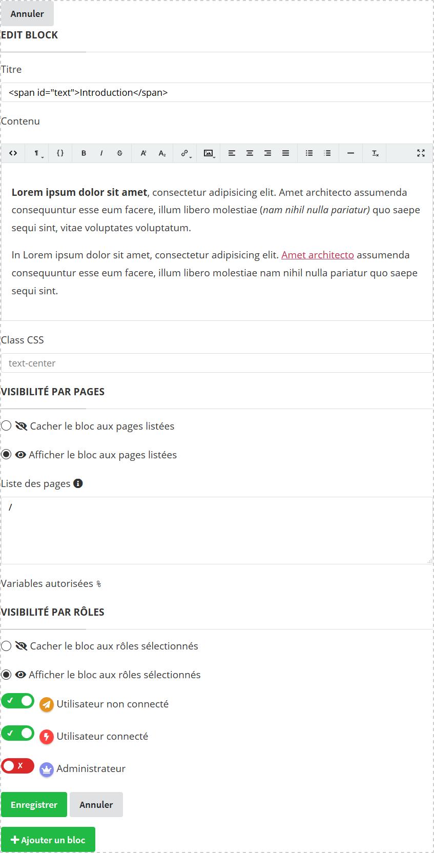 Screenshot du formulaire d'édition des blocs de SoosyzeCMS