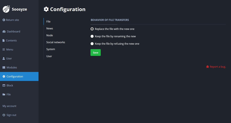 Screenshot de la page de configuration des fichiers de SoosyzeCMS