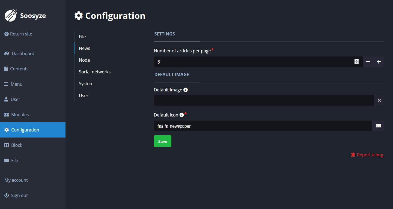 Screenshot de la page de configuration de SoosyzeCMS