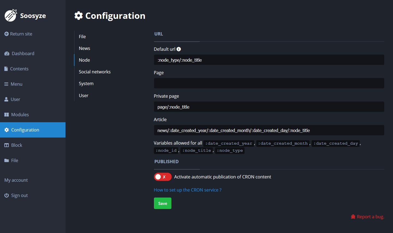 Screenshot de la page de configuration des node de SoosyzeCMS