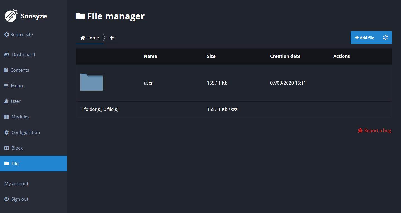 Screenshot de la page de gestion des fichiers de SoosyzeCMS