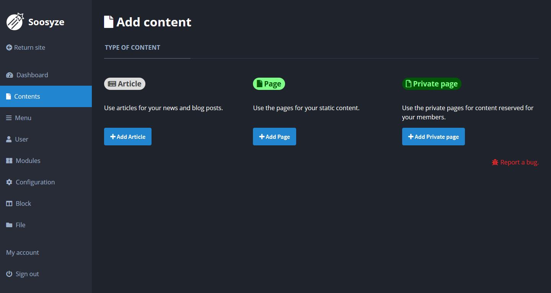 Screenshot de la page des types de contenu de SoosyzeCMS