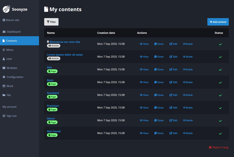 Screenshot de la page de gestion des contenus de SoosyzeCMS