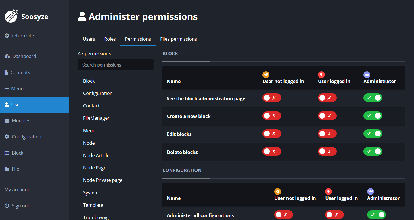 Screenshot de la page de gestion des permissions de SoosyzeCMS