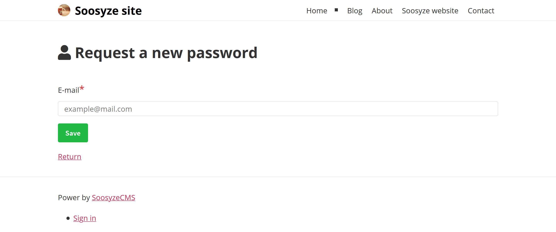 Screenshot de la page de demande de nouveau mot de passe de SoosyzeCMS