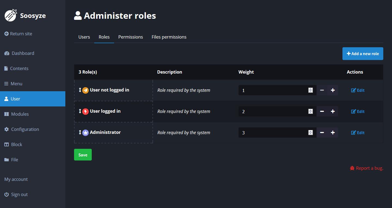 Screenshot de la page de création des rôles de SoosyzeCMS