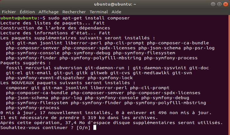 Screenshot de la commande apt-get install composer sous Ubuntu