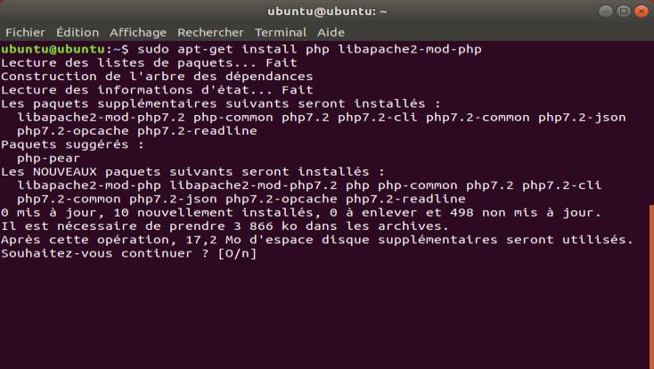 Screenshot de la commande apt-get install php libapache2-mod-php sous Ubuntu